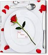 Valentines Place Setting With Red Rose And Petals Canvas Print