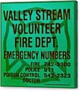 Valley Stream Fire Department In Irish Green Canvas Print
