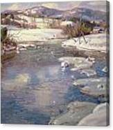 Valley Stream In Winter Canvas Print