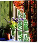 Vase Of Flowers And Mug By Window Canvas Print