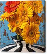 Vase With Gerbera Daisies  Canvas Print