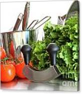 Vegetables With Kitchen Pots And Utensils On White  Canvas Print