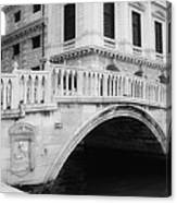Venice Bridge Bw Canvas Print