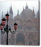 Venice, St Mark's Basilica In Fog, Italy Canvas Print