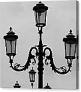 Venitian Lamp Posts Bw Canvas Print