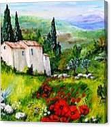 Ventoux Et Coquelicots Canvas Print