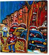Verdun Rowhouses With Hockey - Paintings Of Verdun Montreal Street Scenes In Winter Canvas Print