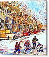 Verdun Street Hockey Game Goalie Makes The Save Classic Montreal Winter Scene Canvas Print