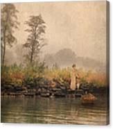 Victorian Lady By Row Boat Canvas Print
