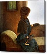 Victorian Lady Gazing Out The Window Canvas Print