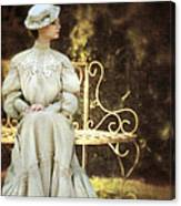 Victorian Lady On Garden Bench Canvas Print