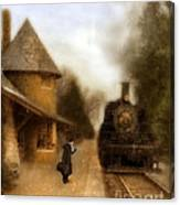 Victorian Woman At Train Station Canvas Print