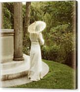Victorian Woman In Garden With Parasol Canvas Print
