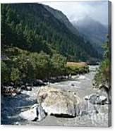 View Along River Marpha To Ghasa Canvas Print