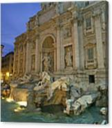 View At Dusk Of The Trevi Fountain Canvas Print