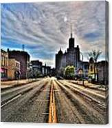 View Down Broadway Into Downtown Buffalo Ny Vert Canvas Print