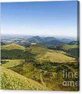 View From Puy De Dome Onto The Volcanic Landscape Of The Chaine Des Puys. Auvergne. France Canvas Print