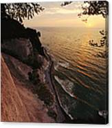 View Looking Down Cliffs At Sunset Canvas Print