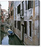 View Of A Canal In A Quiet Residential Canvas Print