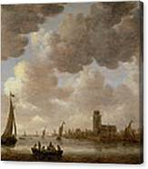 View Of Dordrecht Downstream From The Grote Kerk Canvas Print