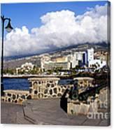 View Of Puerto De La Cruz From Plaza De Europa Canvas Print