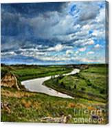 View Of River With Storm Clouds Canvas Print