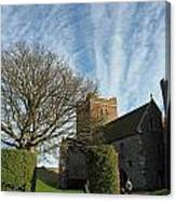 View Of St Mary Church And Clouds In Dover Castle Canvas Print