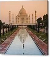 View Of Taj Mahal Reflecting In Pond Canvas Print