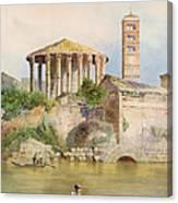 View Of The Sbocco Della Cloaca Massima Rome Canvas Print