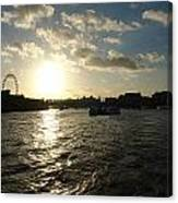 View Of The Thames At Sunset With London Eye In The Background Canvas Print