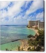 View Of Waikiki And Beach Canvas Print