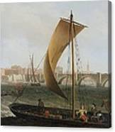 View On The Thames With Westminster Bridge Canvas Print