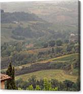 View Over The Tuscan Hills From San Gimignano Italy Canvas Print