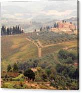 Villa On A Hill In Tuscany Canvas Print