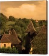 Village Of Castelnau Bretenoux In Sepia Canvas Print