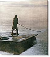 Villager On Raft Crosses Lake Phewa Tal Canvas Print