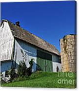 Vintage American Barn And Silo 1 Of 2 Canvas Print
