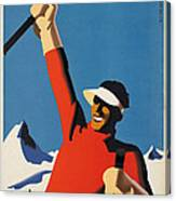 Vintage Austrian Skiing Travel Poster Canvas Print