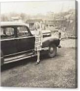 Vintage Auto And Girl Canvas Print
