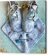 Vintage Baby Shoes And Diaper Pin On Handkercheif Canvas Print