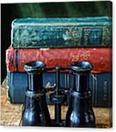 Vintage Binoculars And Books Canvas Print