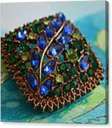 Vintage Blue And Green Rhinestone Brooch On Watercolor Canvas Print