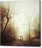 Vintage Car On Foggy Rural Road Canvas Print