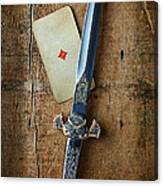 Vintage Dagger On Wood Table With Playing Card Canvas Print