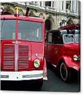 Vintage Fire Truck Duo Canvas Print