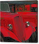Vintage Fire Truck Techno Art Canvas Print