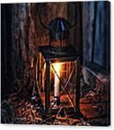 Vintage Lantern In A Barn Canvas Print