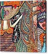 Vintage Mermaid And Wisdom Coral Angel Canvas Print