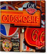 Vintage Neon Sign Oldsmobile Canvas Print