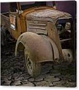 Vintage Pickup On Parched Earth Canvas Print